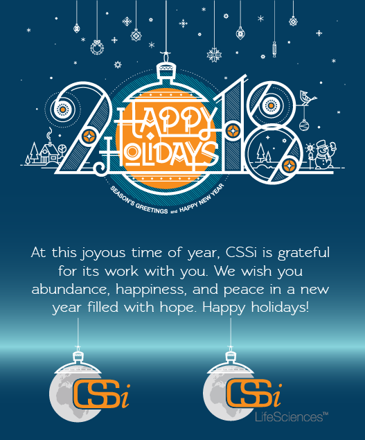 At this joyous time of year, CSSi is grateful for its work with you. We wish you abundance, happiness, and peace in a new year filled with hope. Happy holidays!