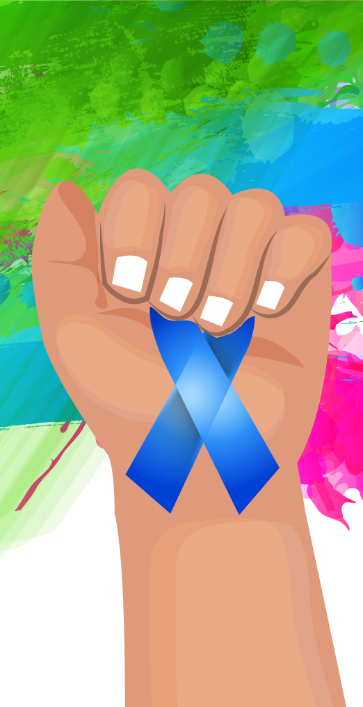 Rare Disease Day hand holding ribbon