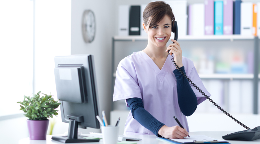 image of doctors office nurse performing a telephone chart review.